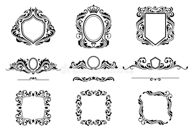 Sistema de elementos del marco de las decoraciones del vintage Ornamentos, fronteras y marcos caligráficos de los Flourishes Cole libre illustration