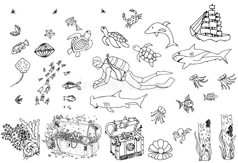 Sistema de elementos del mundo del mar garabato del vector ilustración del vector