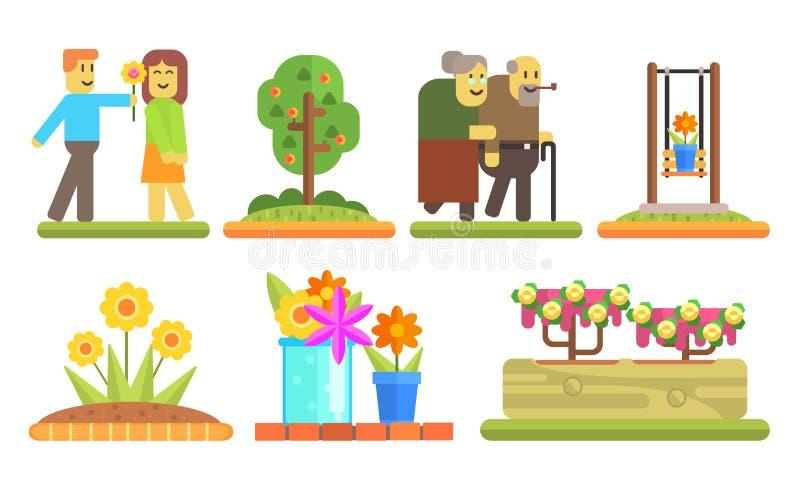 Sistema de elementos del parque y del jardín, hombre joven que da la flor a la muchacha, pares mayores caminando junto, macizos d ilustración del vector