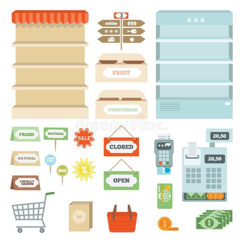 Sistema de elementos del supermercado libre illustration