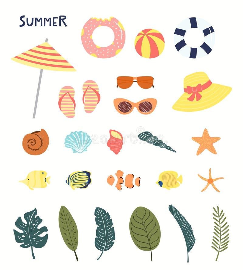 Sistema de elementos del verano ilustración del vector