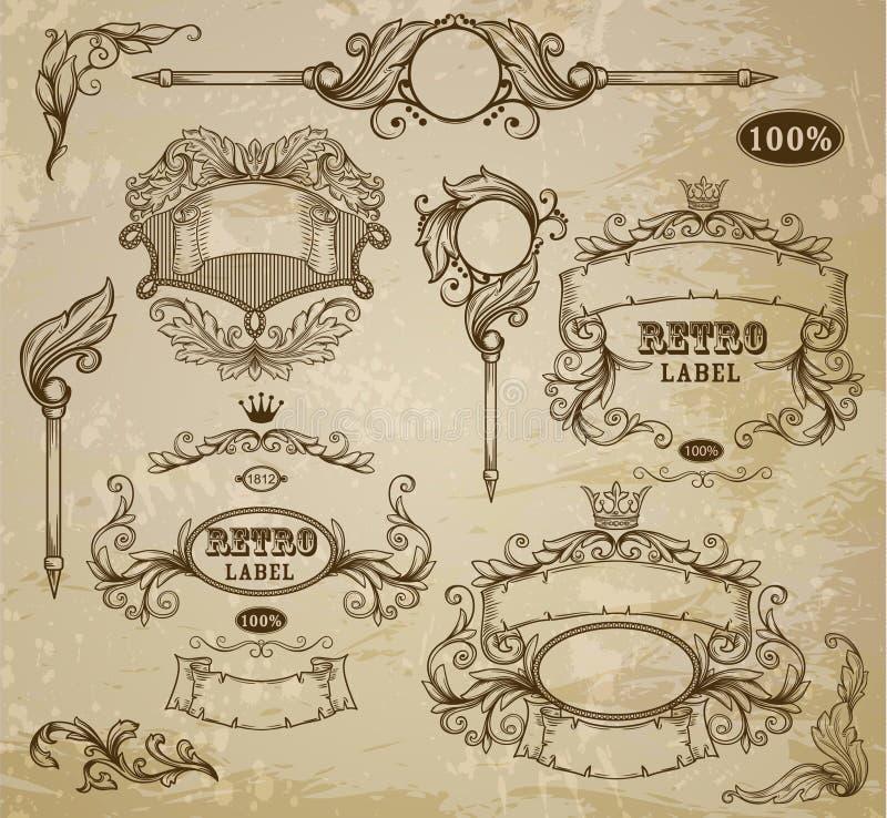 Sistema de elementos del vintage stock de ilustración