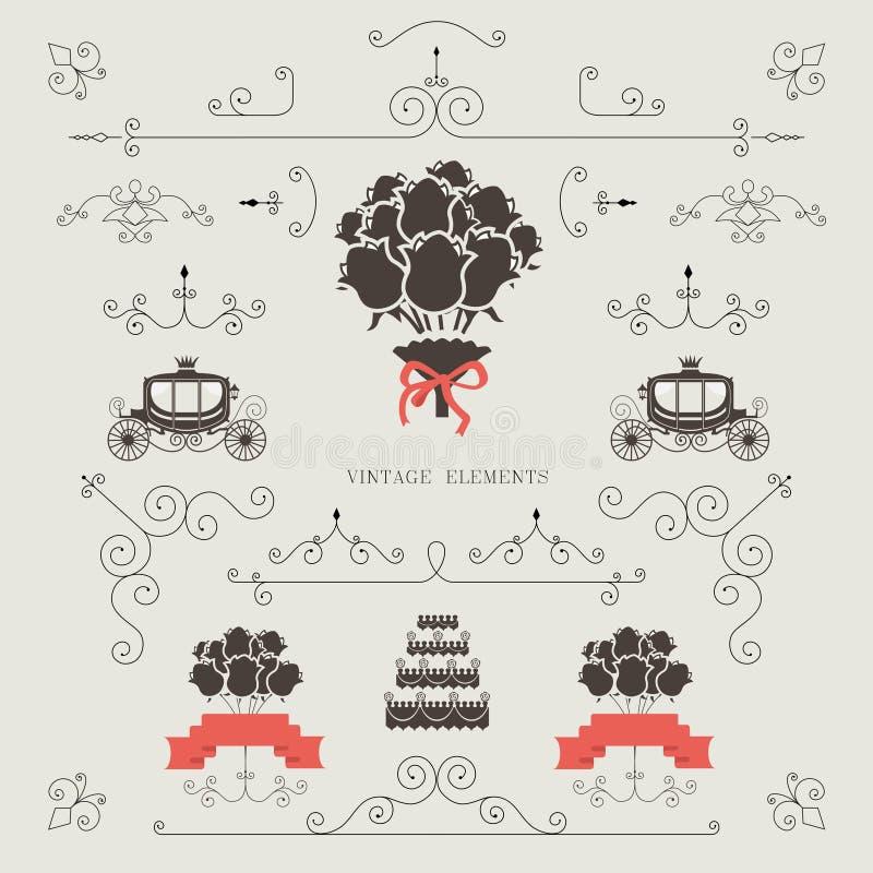 Sistema de elementos del vintage, casandose la invitación, marco, fronteras libre illustration