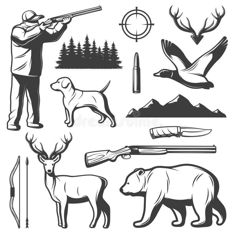 Sistema de elementos del vintage de la caza libre illustration
