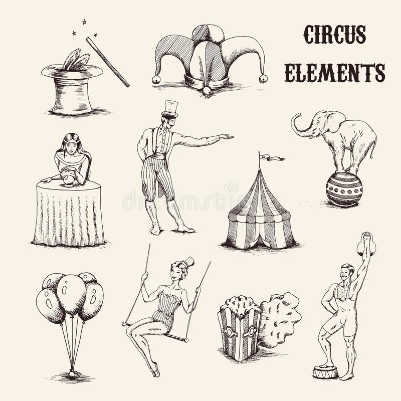 Sistema de elementos dibujado mano del circo del vector Acróbata, elefante, palomitas, baloons, sombrero del cilinder y vara de l ilustración del vector