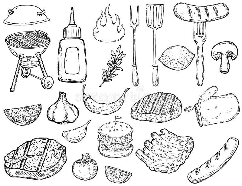 Sistema de elementos dibujados mano del diseño de la parrilla Carne, verduras, parrillas, herramientas de la cocina Diseñe los el libre illustration