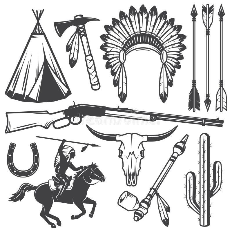 Sistema de elementos diseñados indios americanos del oeste salvajes stock de ilustración