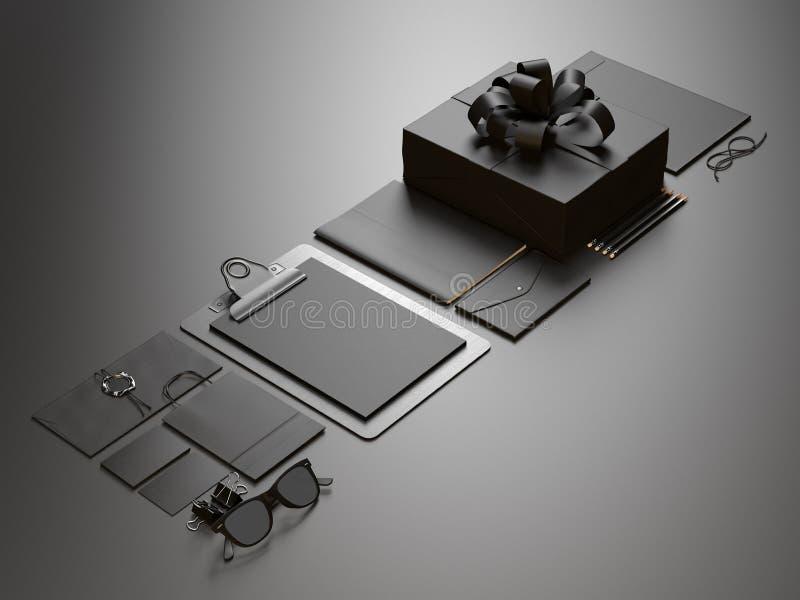 Sistema de elementos en blanco de la oficina en el negro ilustración del vector