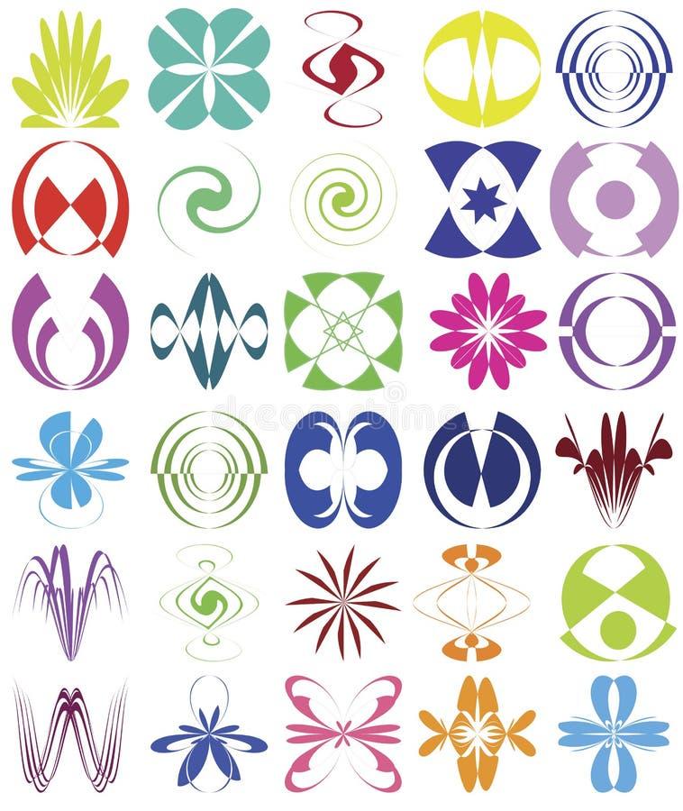 Sistema de elementos esotéricos del diseño stock de ilustración