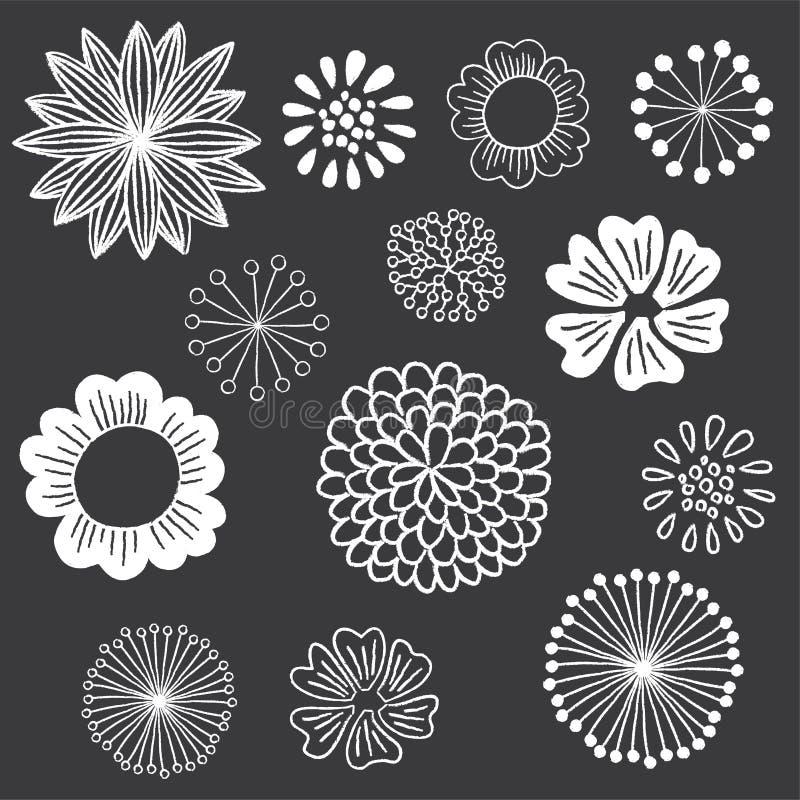 Sistema de elementos floral de la pizarra stock de ilustración