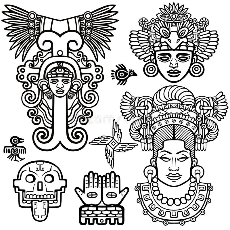 Sistema de elementos gráficos basados en motivos del indio del nativo americano del arte stock de ilustración