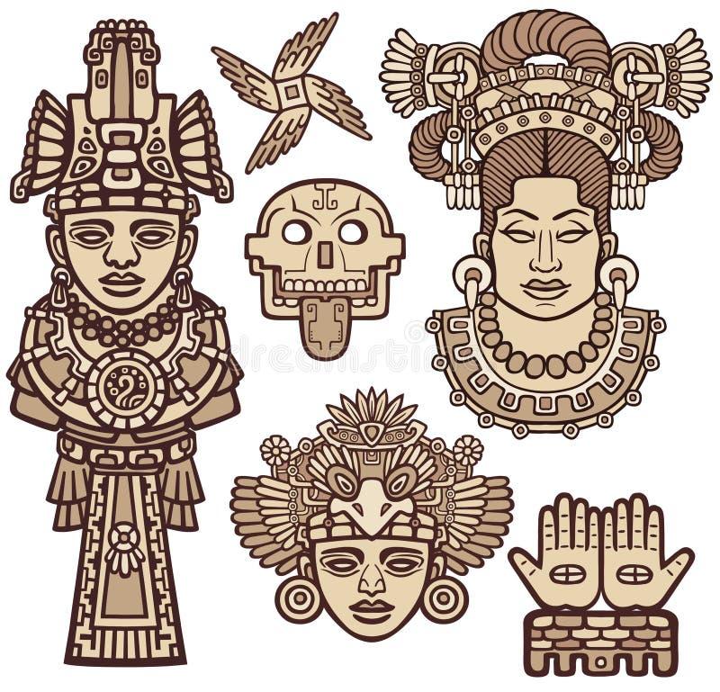 Sistema de elementos gráficos basados en motivos del indio del nativo americano del arte libre illustration