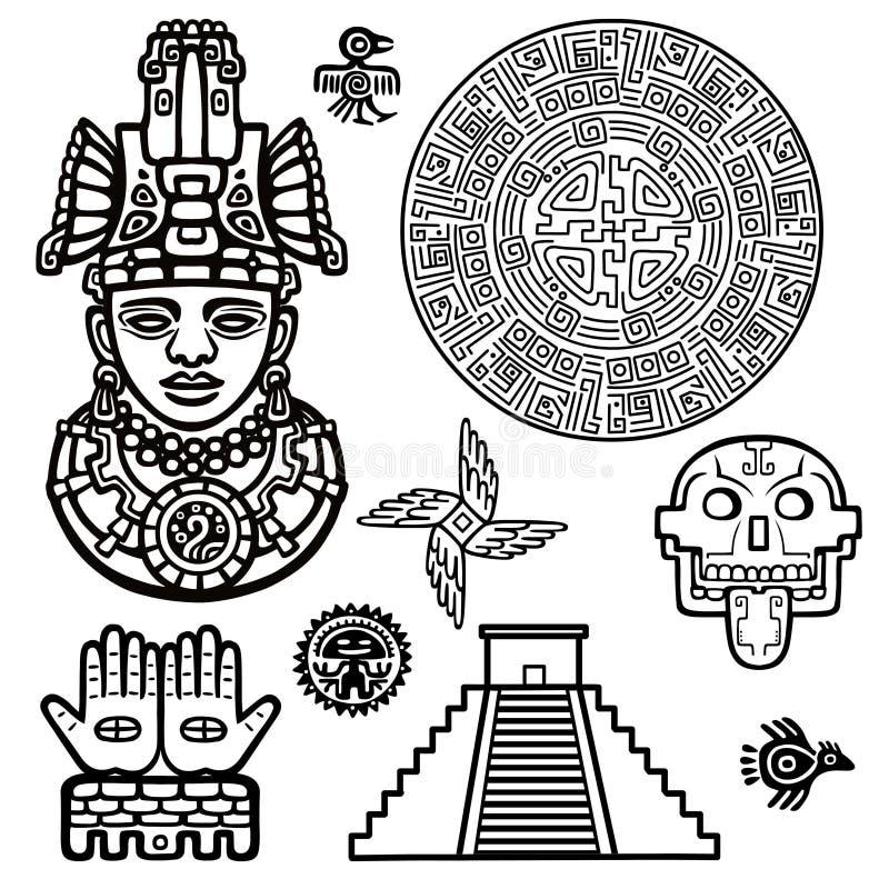 Sistema de elementos gráficos basados en motivos del indio del nativo americano del arte ilustración del vector