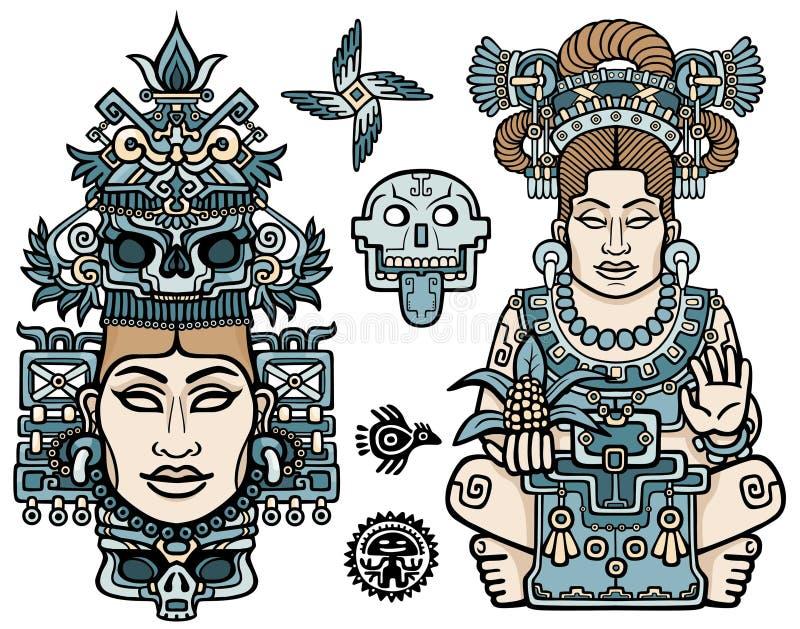 Sistema de elementos gráficos basados en motivos del indio del nativo americano del arte Mujer, madre, diosa, reina, símbolo esot ilustración del vector