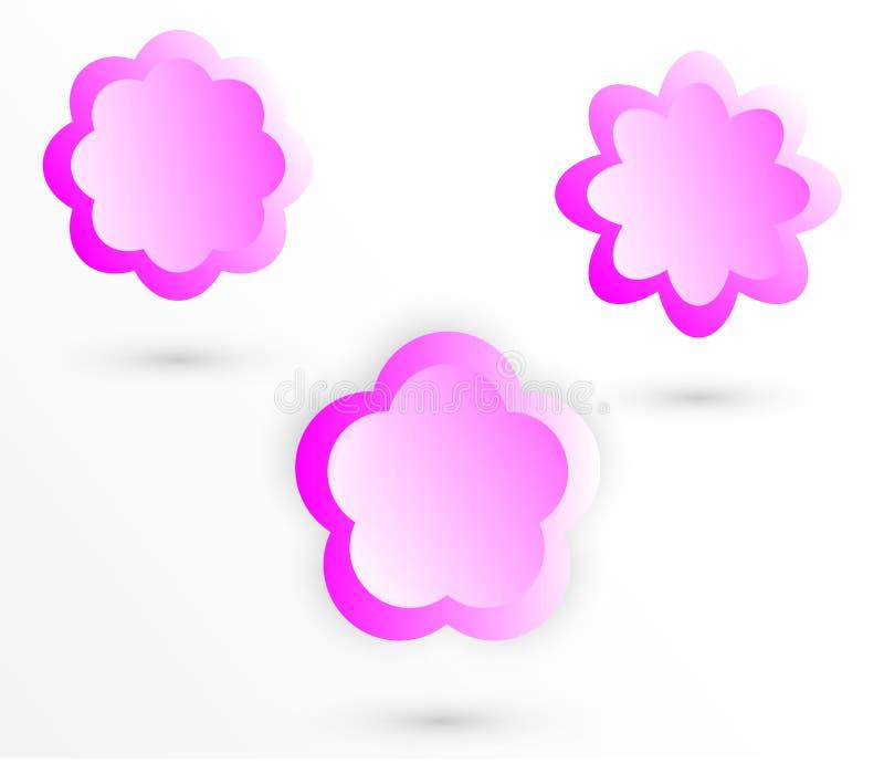 Sistema de elementos gr?ficos abstractos Banderas con forma de la flor Logotipo, símbolo del icono Sistema abstracto del logotipo stock de ilustración