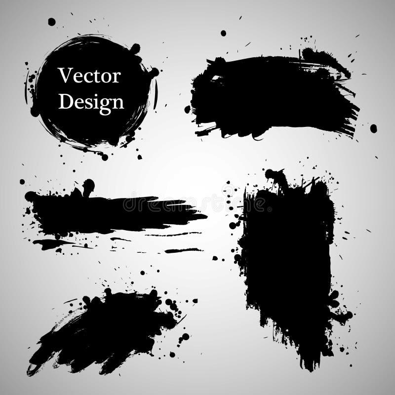 Sistema de elementos grande del grunge Cepille los movimientos, banderas, confina, salpica salpicaduras Ilustración del vector ilustración del vector
