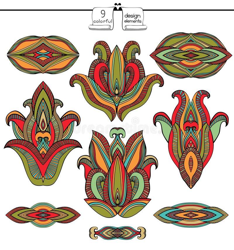 Sistema de elementos indio antiguo del diseño ilustración del vector