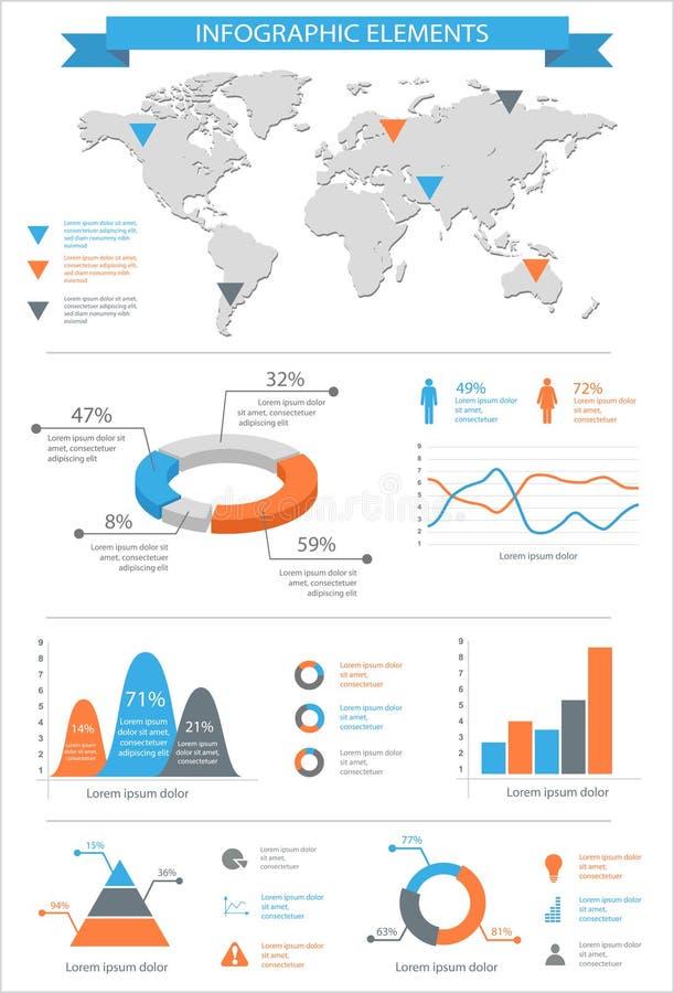 Sistema de elementos infographic detallado con los gráficos del mapa del mundo y el ch libre illustration
