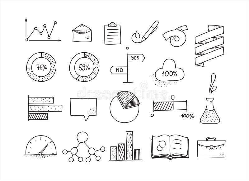 Sistema de elementos infographic dibujado mano del diseño doodle libre illustration