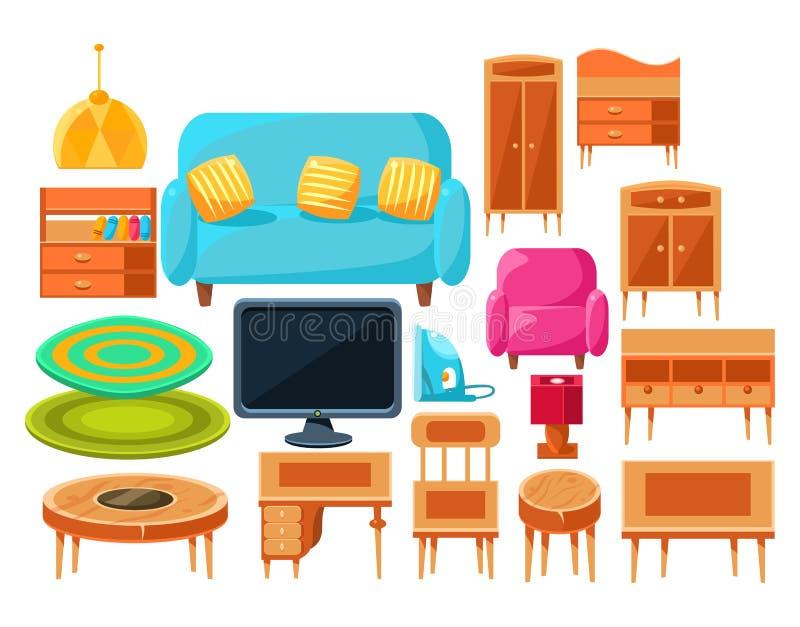 Sistema de elementos interior de la sala de estar stock de ilustración