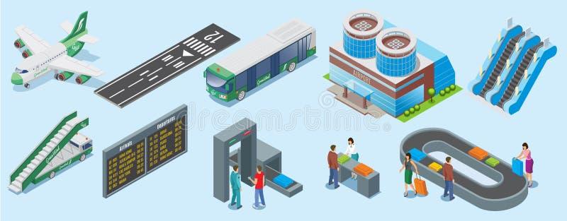 Sistema de elementos isométrico del aeropuerto ilustración del vector