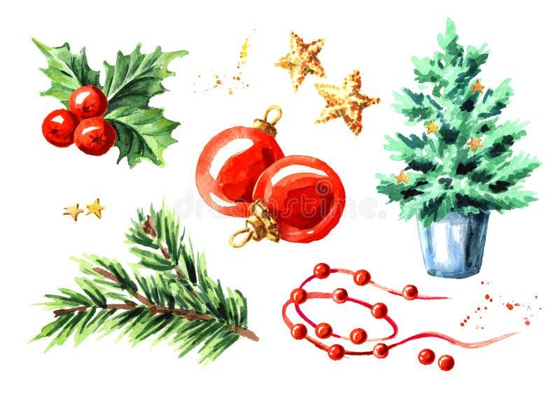 Sistema de elementos de la decoración de la Navidad Ejemplo dibujado mano de la acuarela aislado en el fondo blanco stock de ilustración