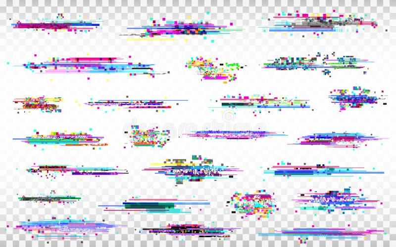 Sistema de elementos de la interferencia Distorsiones del color en fondo transparente Ruido abstracto de Digitaces Colección del  stock de ilustración