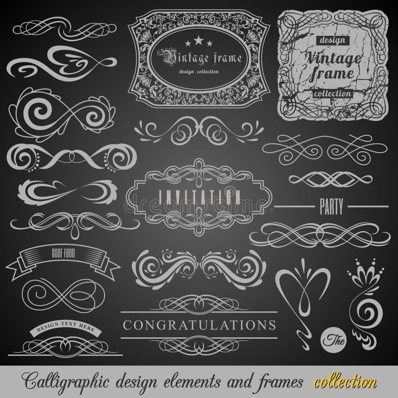 Sistema de elementos de las decoraciones del vintage Ornamentos y capítulos caligráficos de los Flourishes con el lugar para su t ilustración del vector