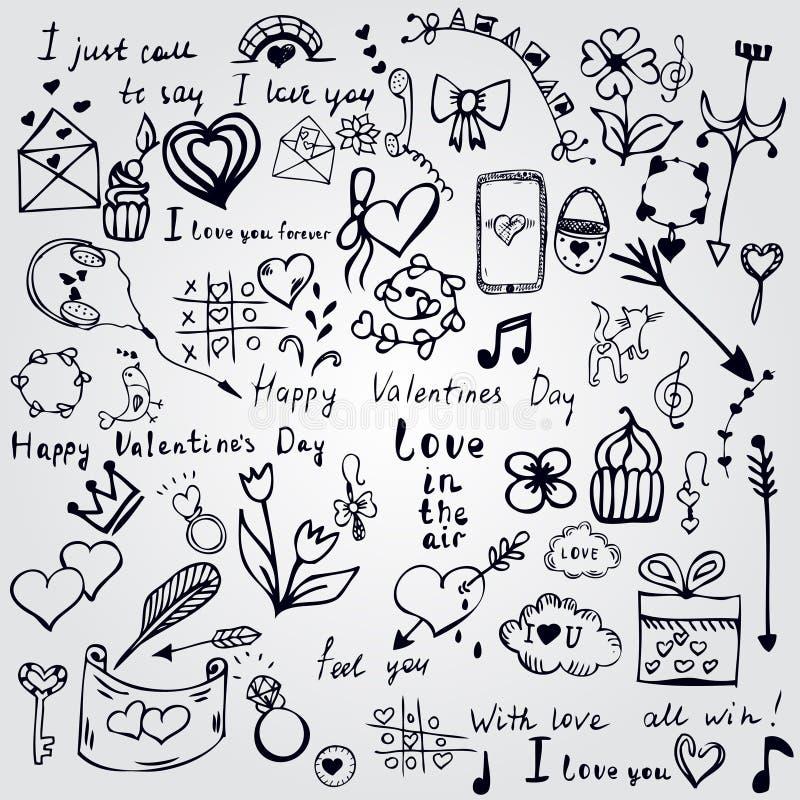 Sistema de elementos lindos del garabato del día de San Valentín Corazones, flores, pájaros, globos y más ilustración del vector