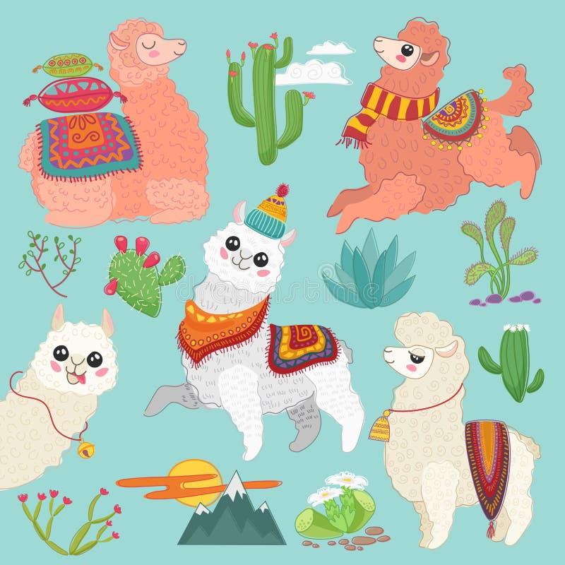 Sistema de elementos lindos del lama de la alpaca del vector del vector y del cactus del desierto libre illustration