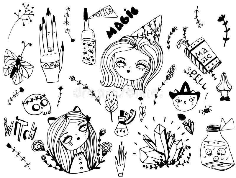 Sistema de elementos lindos de la bruja, mágicos y de Halloween Estilo dibujado mano del bosquejo para el diseño stock de ilustración