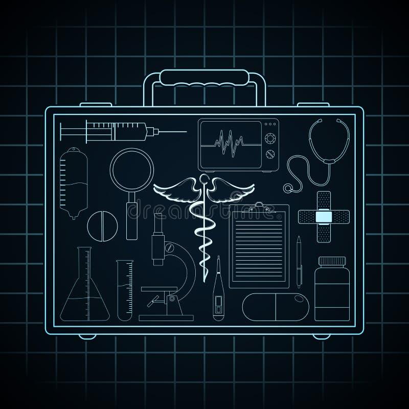 Sistema de elementos médicos en la cartera del doctor ilustración del vector