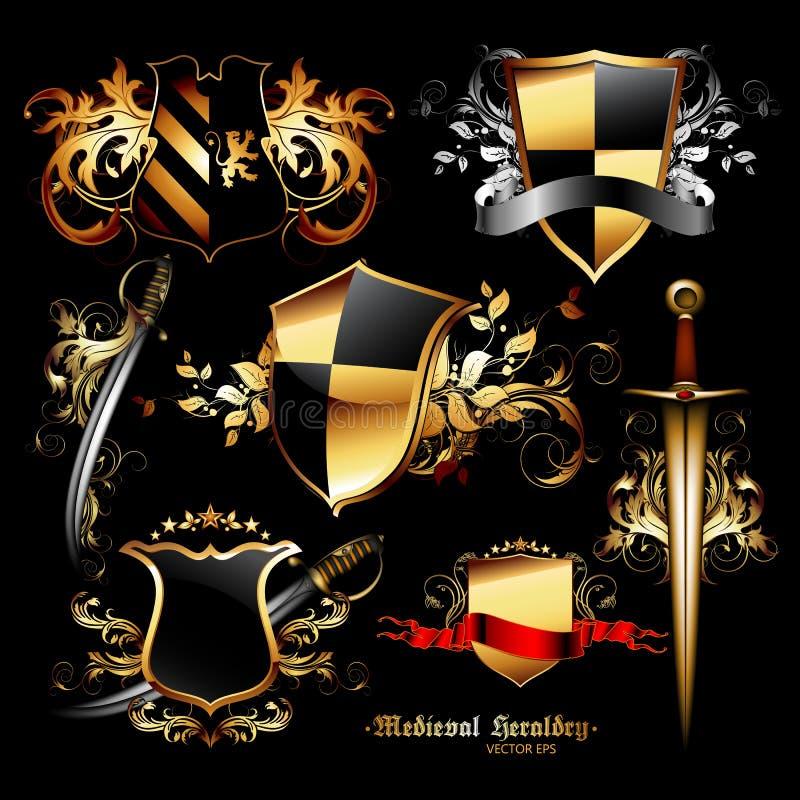 Sistema de elementos medievales ilustración del vector