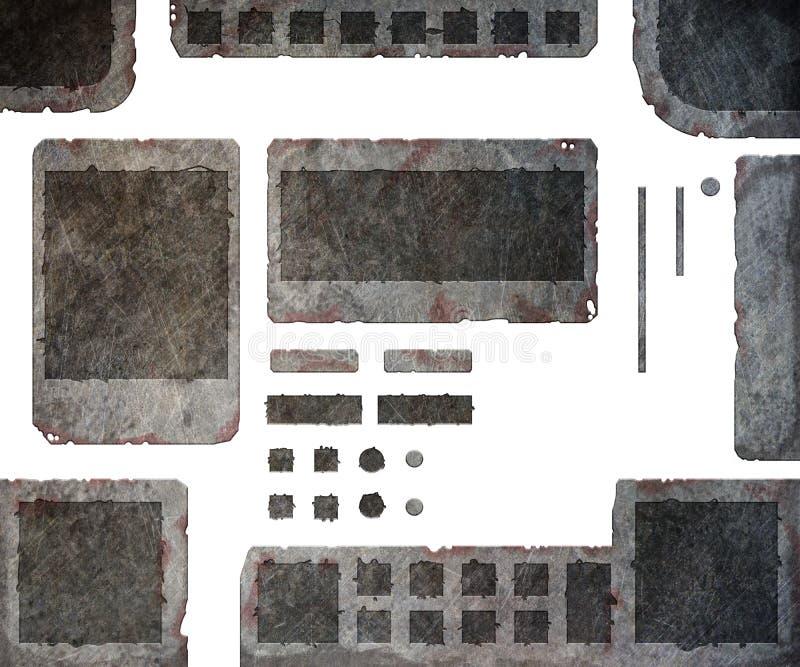Sistema de elementos metálicos ilustración del vector