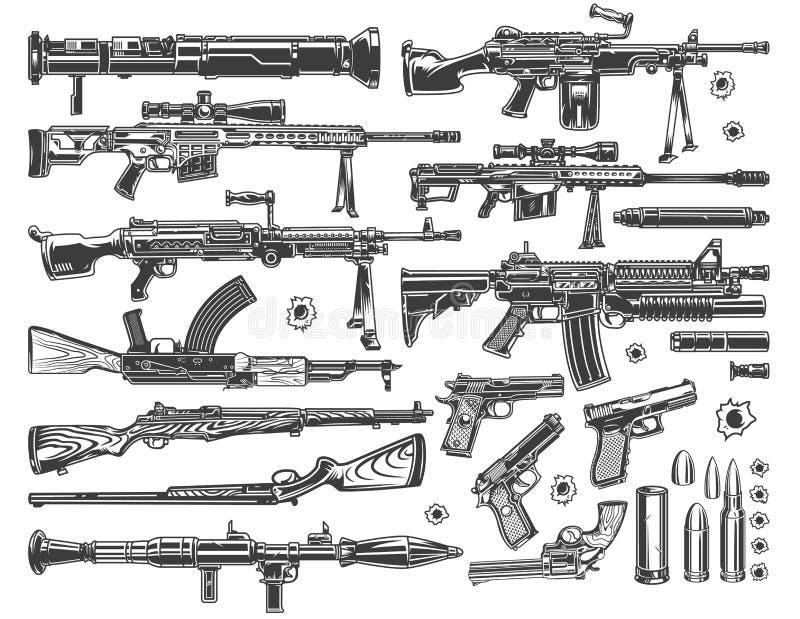 Sistema de elementos militar del vintage stock de ilustración