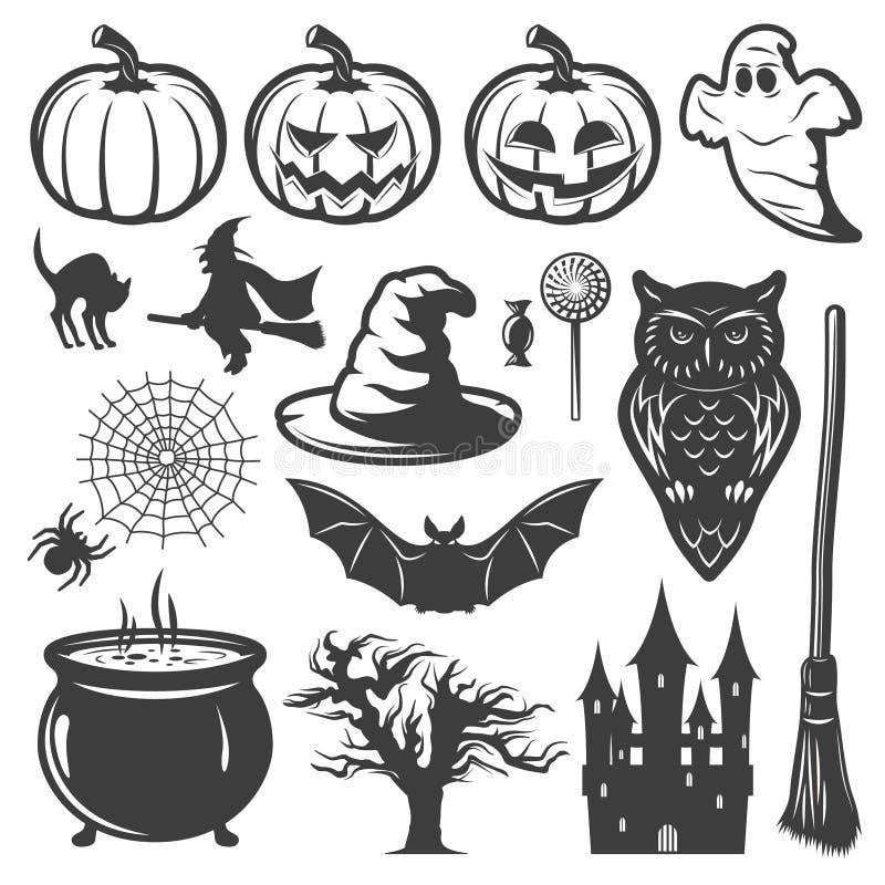 Sistema de elementos monocromático de Halloween libre illustration