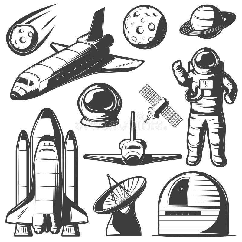 Sistema de elementos monocromático del espacio stock de ilustración