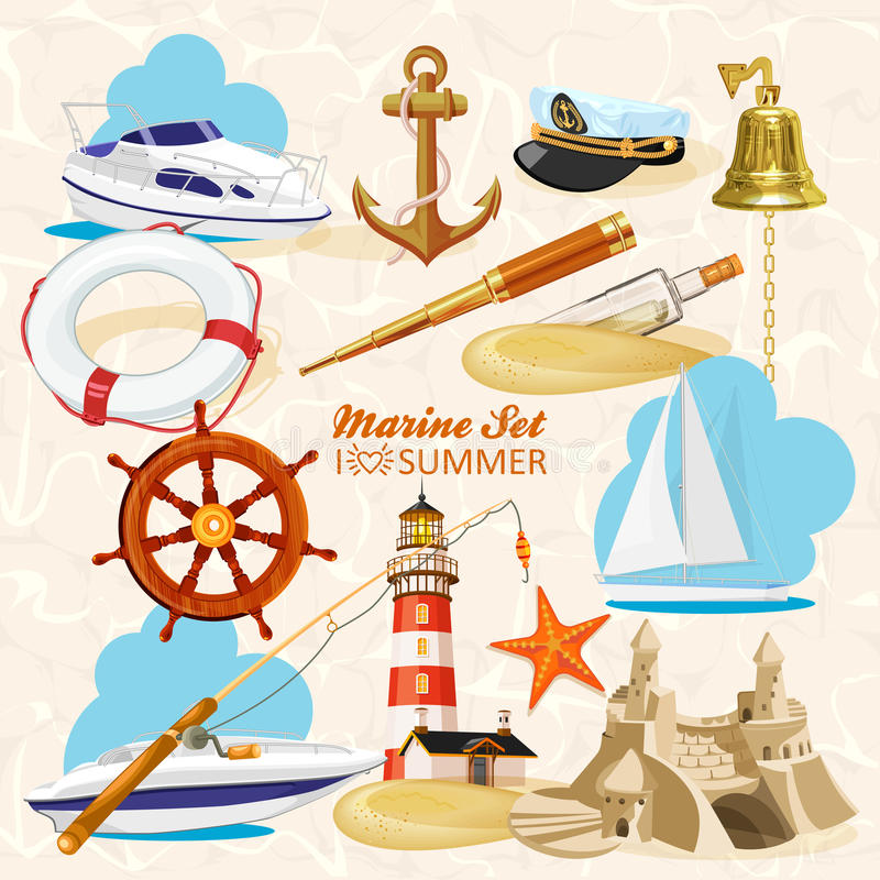 Sistema de elementos náuticos stock de ilustración