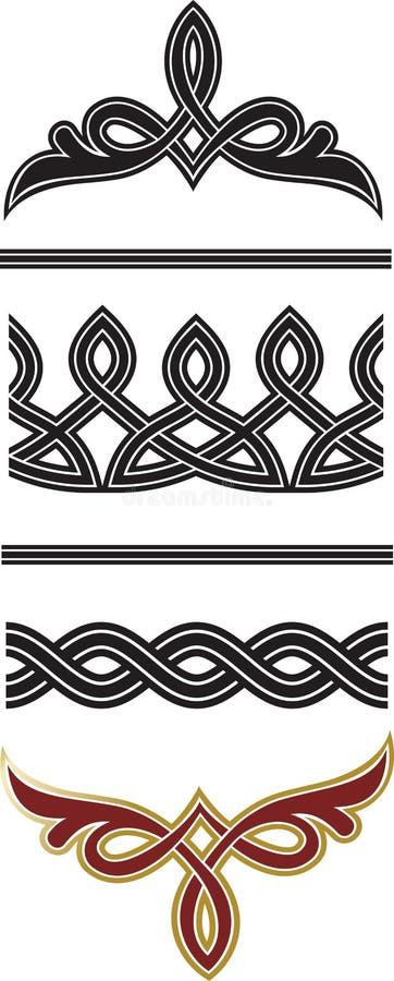 Sistema de elementos original de la ilustración decorativa de las fronteras y de los divisores stock de ilustración