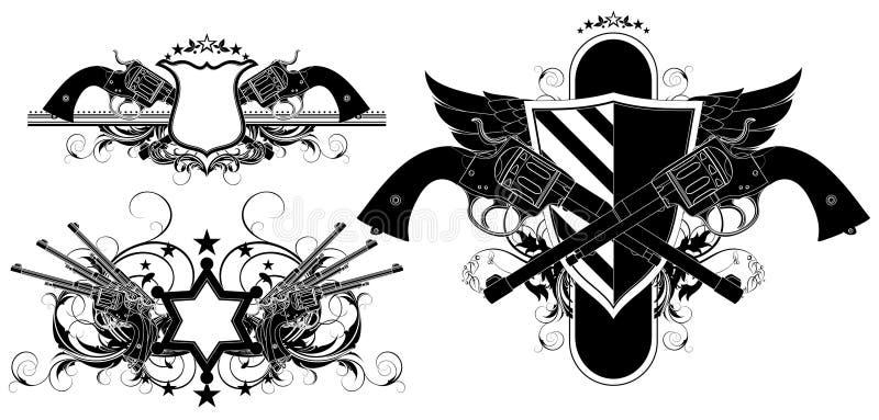 Sistema de elementos ornamentales con los armas ilustración del vector