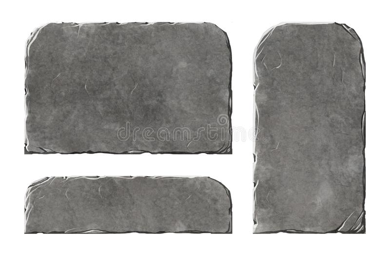 Sistema de elementos de piedra realistas stock de ilustración