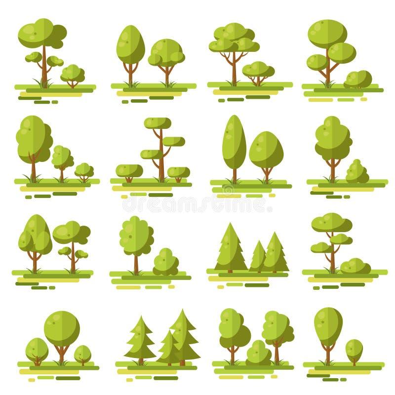 Sistema de elementos plano del bosque stock de ilustración