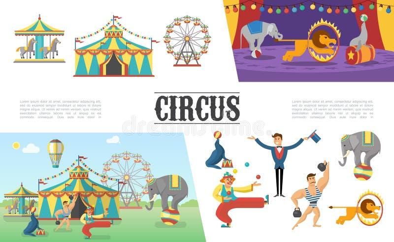 Sistema de elementos plano del circo del carnaval stock de ilustración