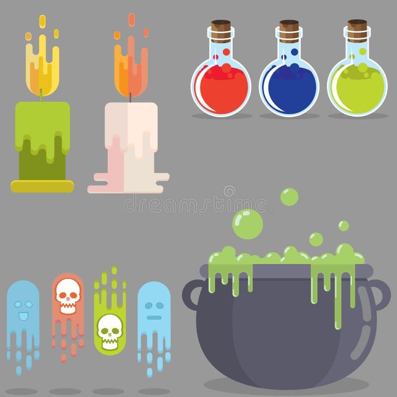 Sistema de elementos plano del juego medieval del RPG ilustración del vector