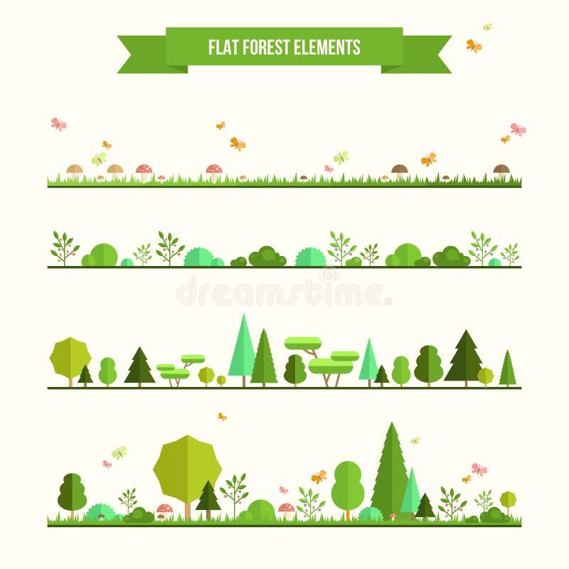 Sistema de elementos planos del bosque ilustración del vector