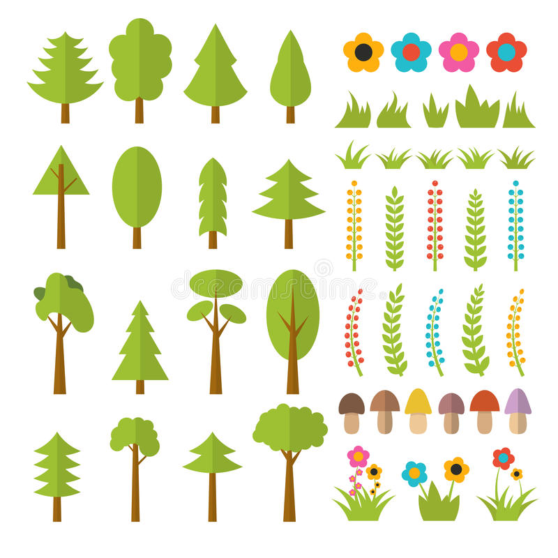 Sistema de elementos planos del bosque Incluya las setas, hierba, bayas, ilustración del vector