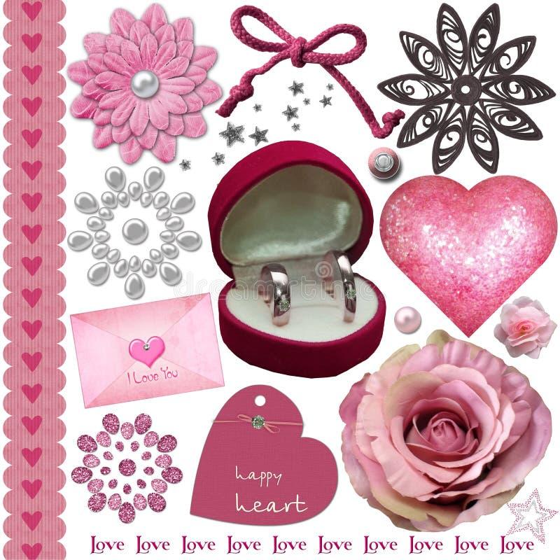 Sistema de elementos rosado de la boda libre illustration