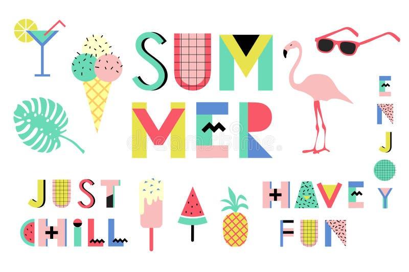 Sistema de elementos styles brillante de Memphis del verano Diseño con la comida geométrica de los elementos stock de ilustración