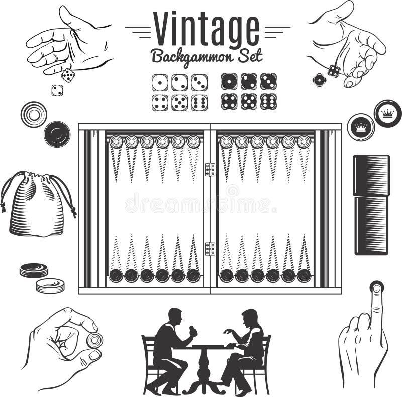 Sistema de elementos styles del vintage del backgammon stock de ilustración