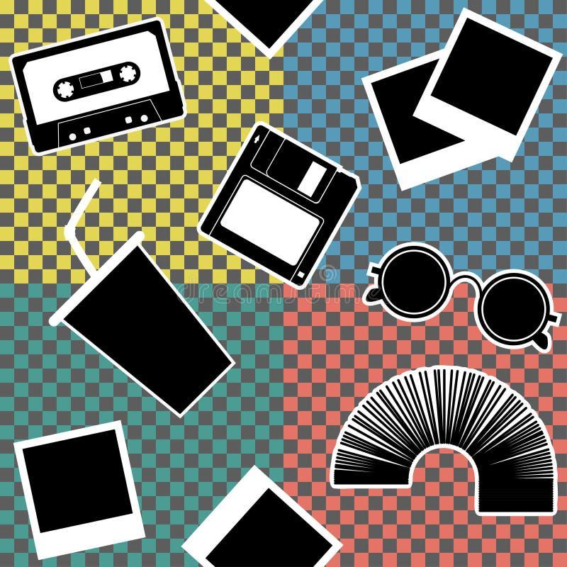Sistema de elementos styles del vintage 90s ilustración del vector
